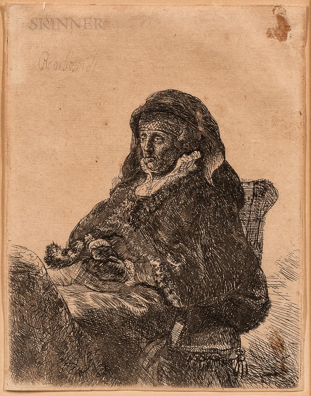 After Rembrandt van Rijn (Dutch, 1606-1669)      The Artist's Mother in Widow's Dress and Black Gloves