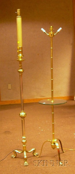 Brass Stylized Bamboo-form Floor Lamp and a Brass Candelabra/Floor Lamp.