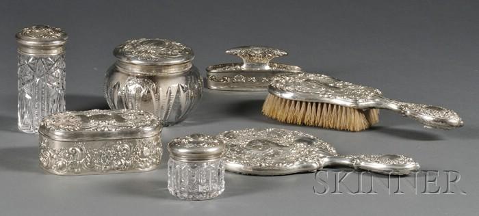 Gorham Sterling and Sterling-mounted Vanity Set