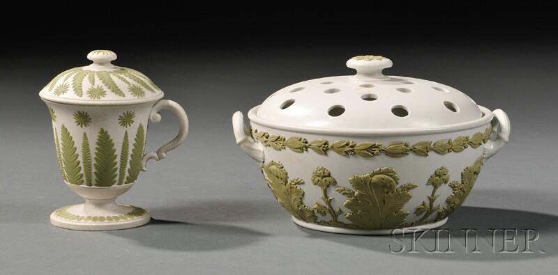 Two Wedgwood White Smear-glazed Stoneware Items