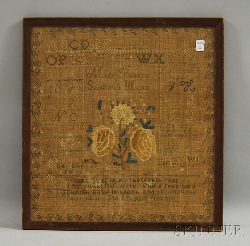 Framed 1839 Mary Babrow Needlework Sampler