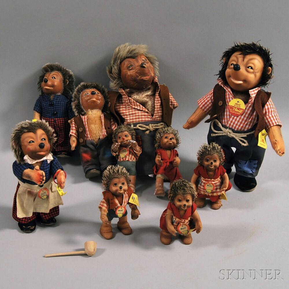 Ten Steiff Mecki the Hedgehog and Family Dolls