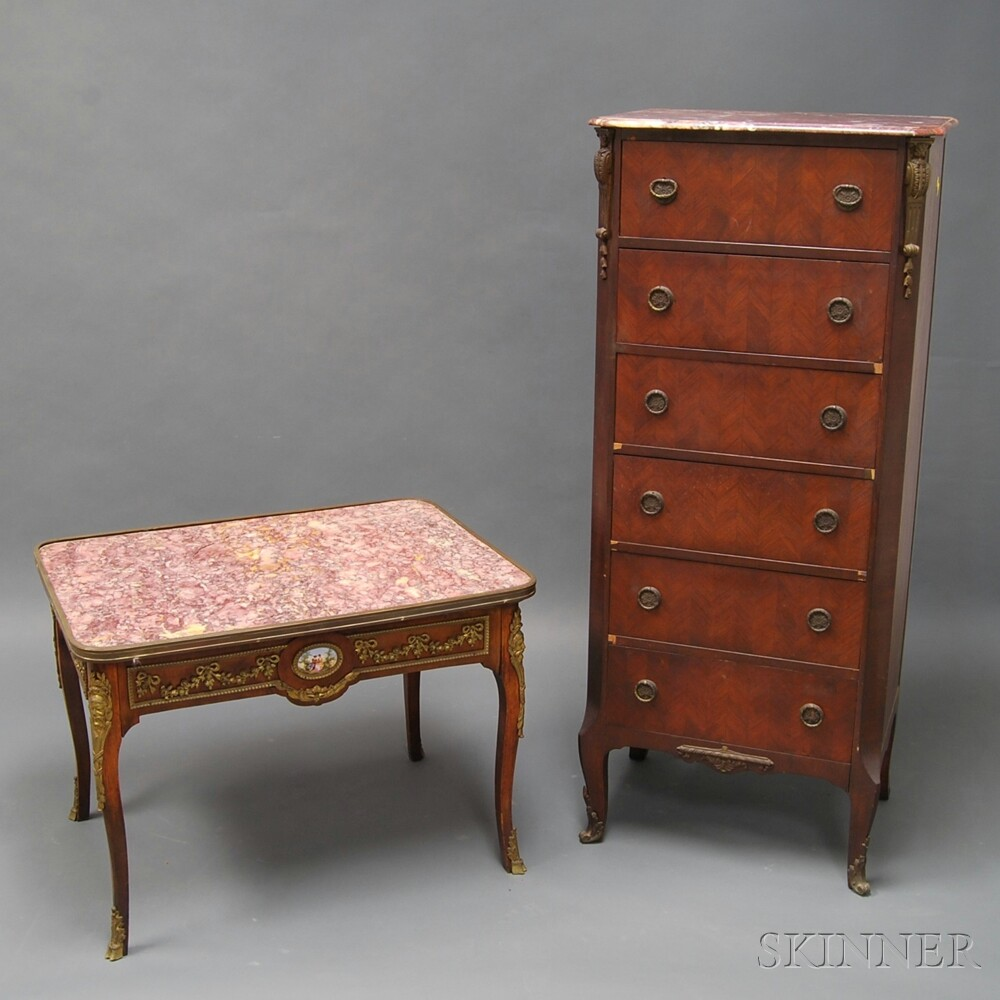 Two Pieces of Louis XV-style Marble-top Furniture