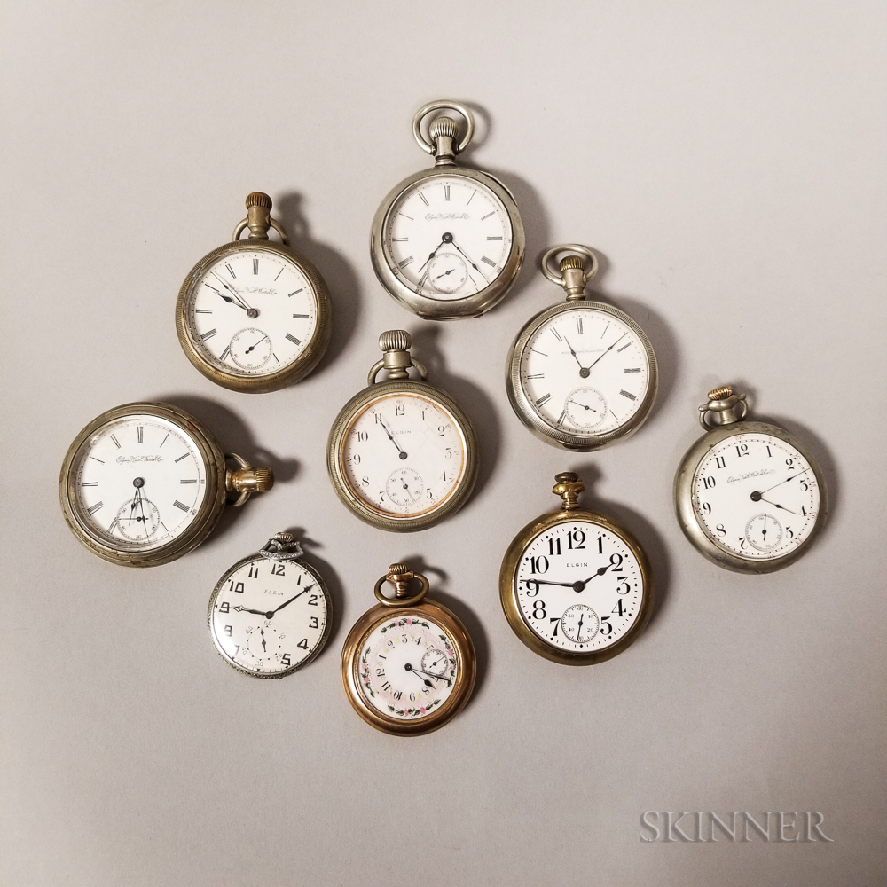 Nine Elgin Watch Co. Open-face Watches
