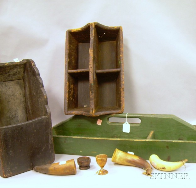 Wooden Wall Box, Two Divided Carriers, a Turned Wooden Egg Cup and Salt, and Three Powder Horns.