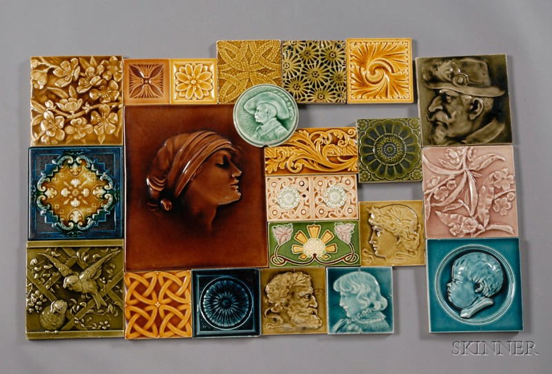 Fifty-three Decorated Tiles: Various Makers