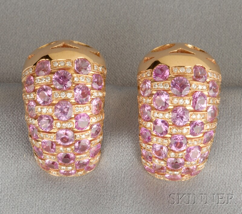 18kt Gold, Pink Sapphire, and Diamond Earclips