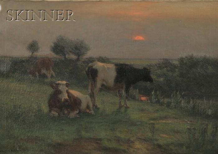 Carleton Wiggins  (American, 1848 -1932)      Resting Cows at Dusk