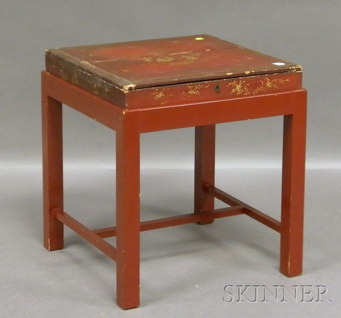 Chinese Export Gilt-decorated Red Lacquer Lidded Box on Stand