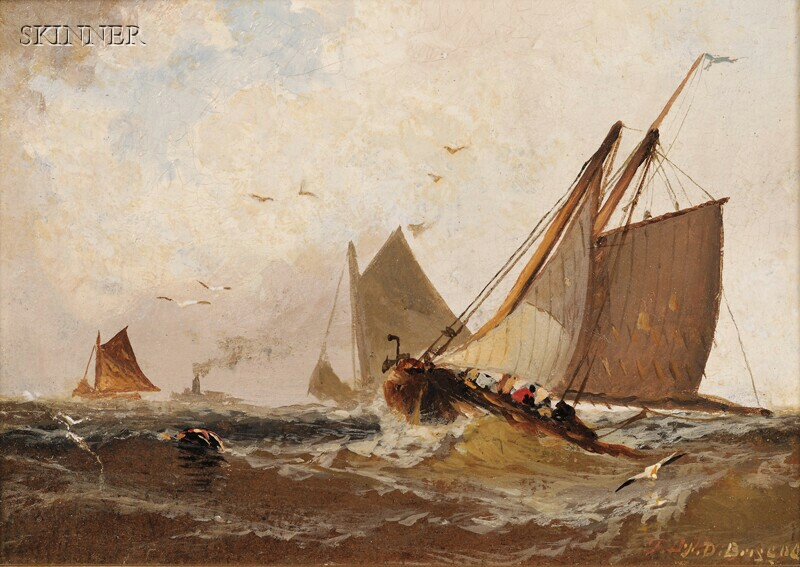 Franklin Dullin Briscoe (American, 1844-1903)      Two Marine Paintings:  On the Fishing Banks
