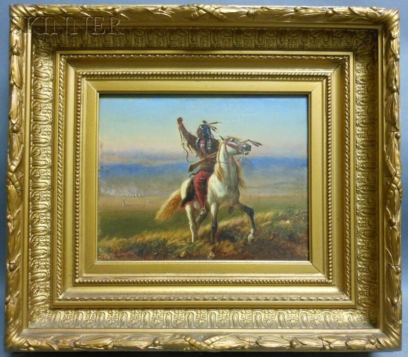 William De La Montagne Cary (American, 1840-1922)      Scene with a Native American Warrior on Horseback
