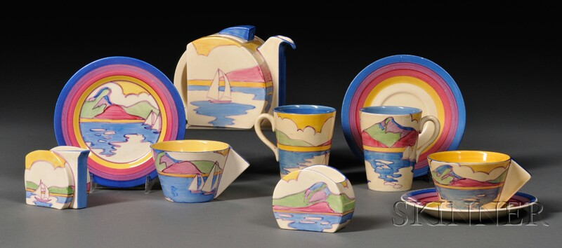 Eight-piece Clarice Cliff Fantasque Bizarre Ware Partial Tea Set