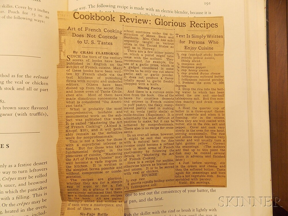 Child, Julia (1912-2004) and Simone Beck (1904-1991) Mastering the Art of French Cooking