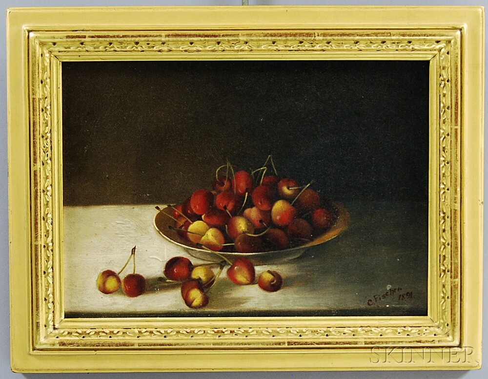 American School, 19th Century       Still Life with Cherries.