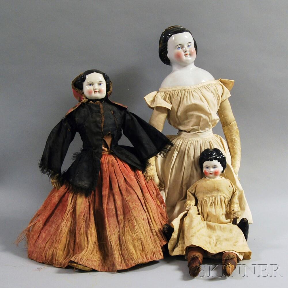 Four China Shoulder Head Dolls