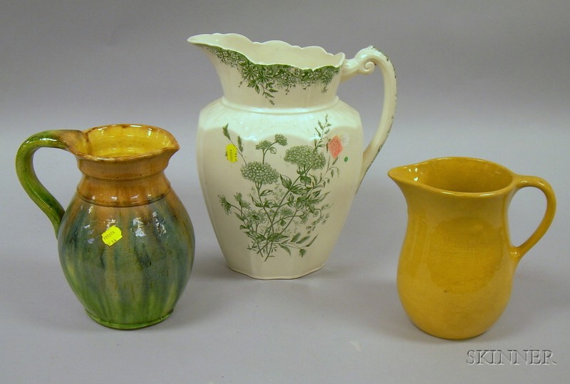 Yellowware Jug, a Majolica Glazed Jug, and a Staffordshire Transfer Meadow Sweet Pattern Pitcher.