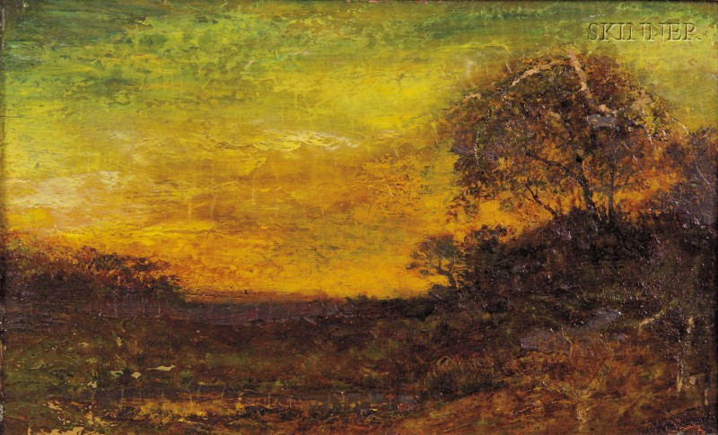 Attributed to Ralph Albert Blakelock (American, 1845-1919)      Meadow at Twilight