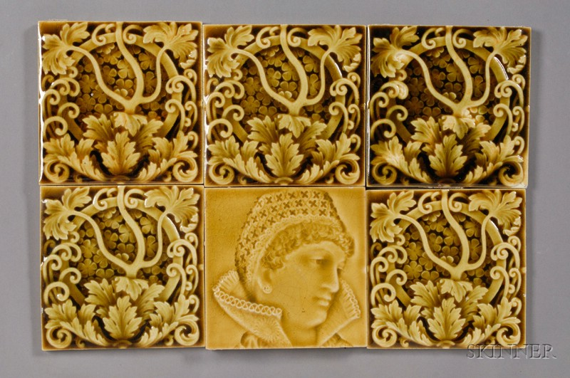 Six Decorated Tiles: Trent Tile Company
