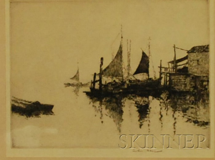 Lot of Three Framed Etchings Arthur William Hall (American, 1889-1981), Sailboats at a Wharf; James Alphege Brewer (British, 20th Centu