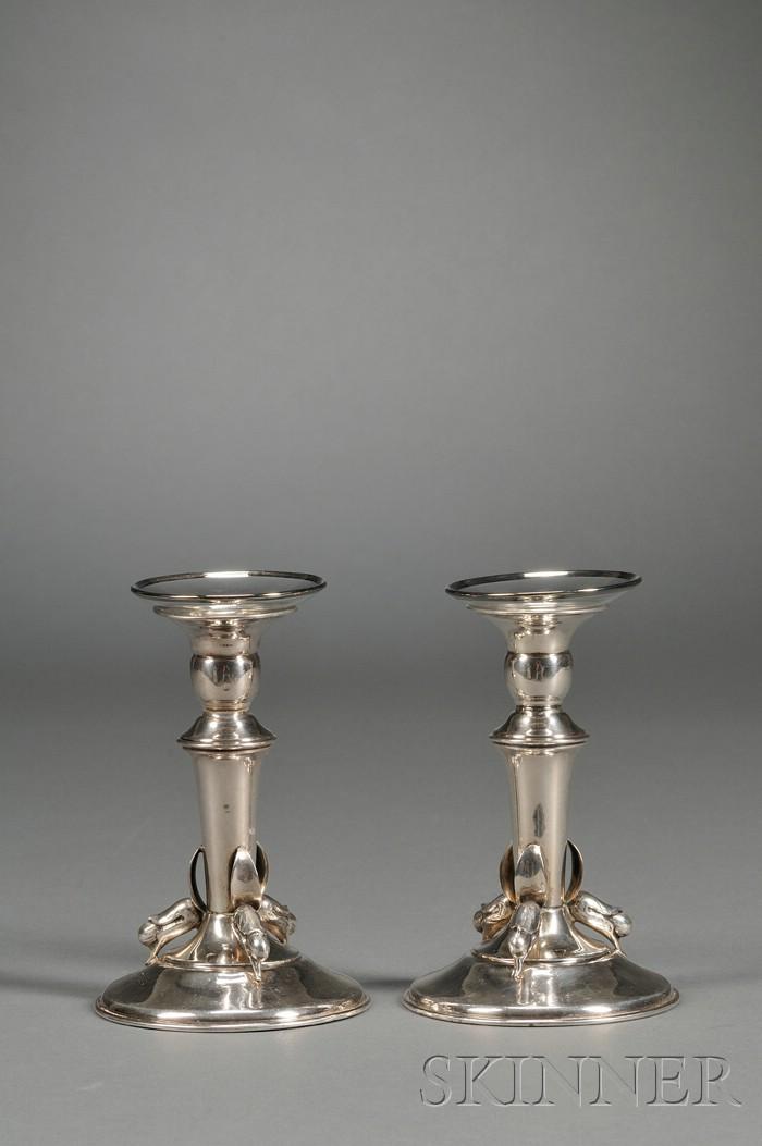 Pair of Arts & Crafts Candlesticks