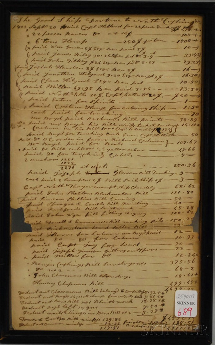 Framed 1803 Bill of Lading for the Good Ship Fortune