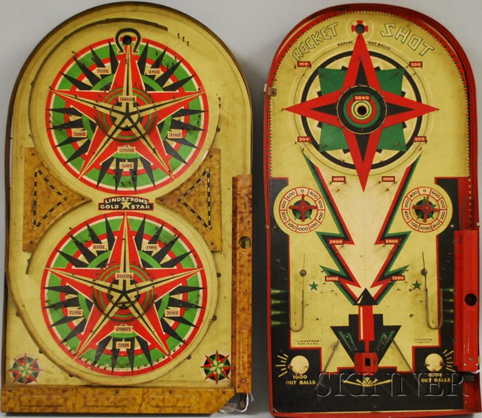 """Two Lithographed """"LINDSTROM'S"""" Tin Pinball Games"""