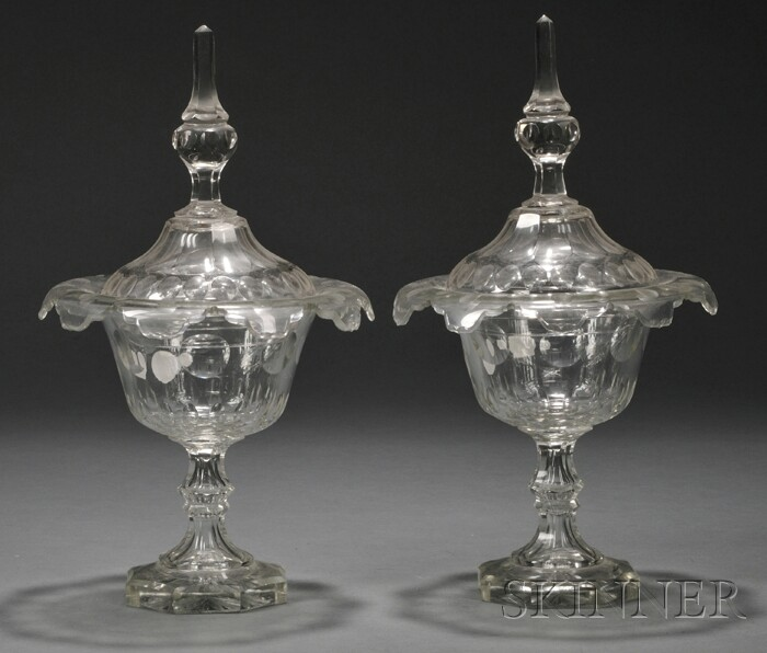 Pair of British Colorless Cut Glass Chestnut Urns