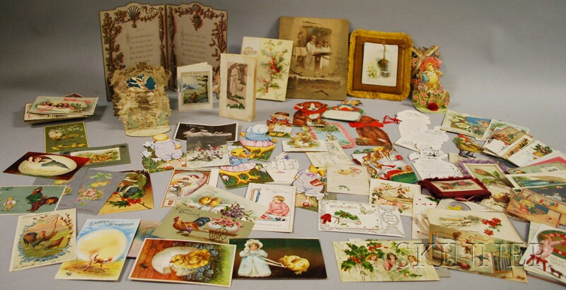 Approximately 100 Late Victorian and Early 20th Century Mostly Christmas, Easter, and Holiday Postcards and Cards.