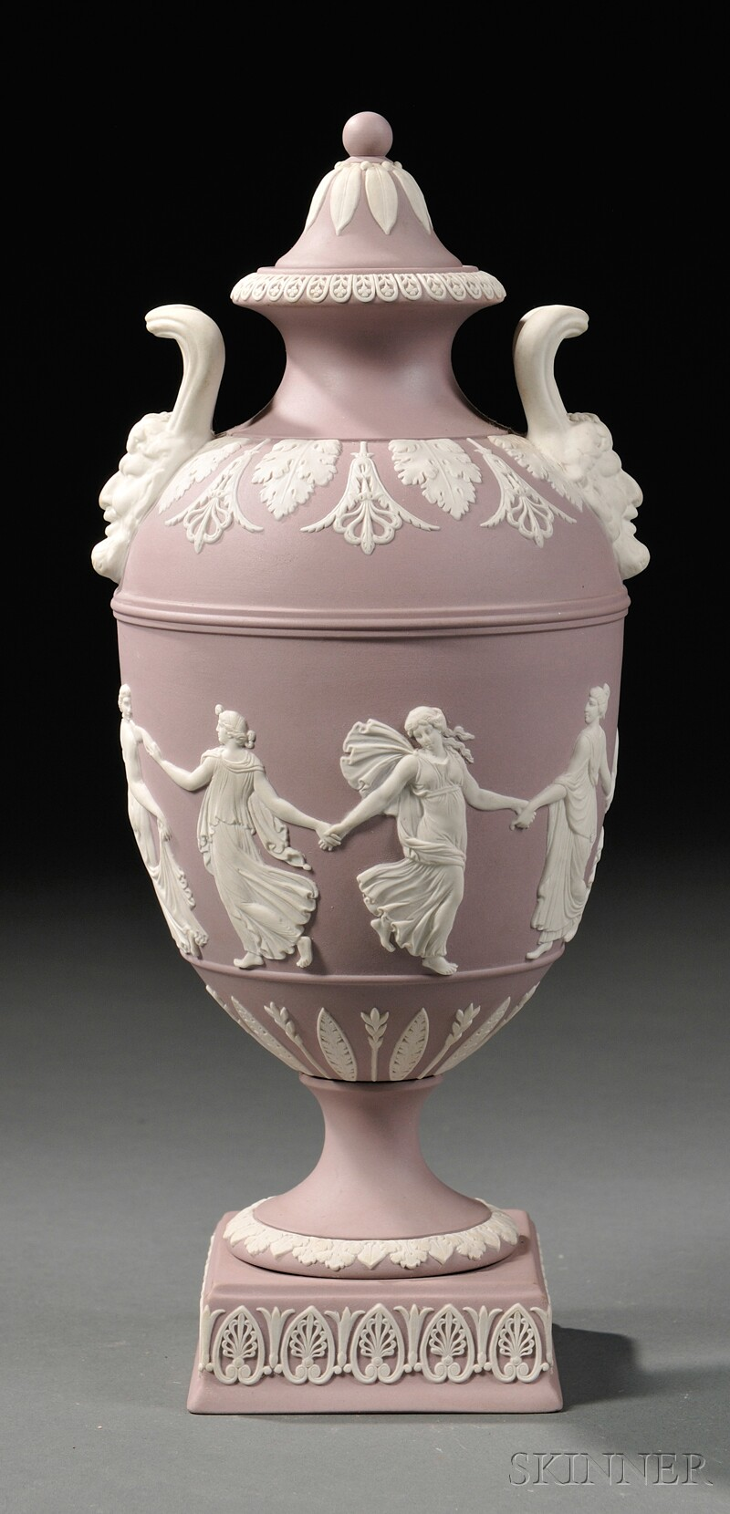 Modern Wedgwood Solid Lilac Jasper Vase and Cover