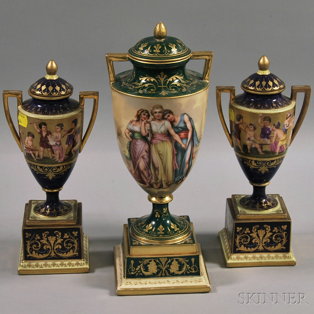Three Vienna Porcelain Covered Urns