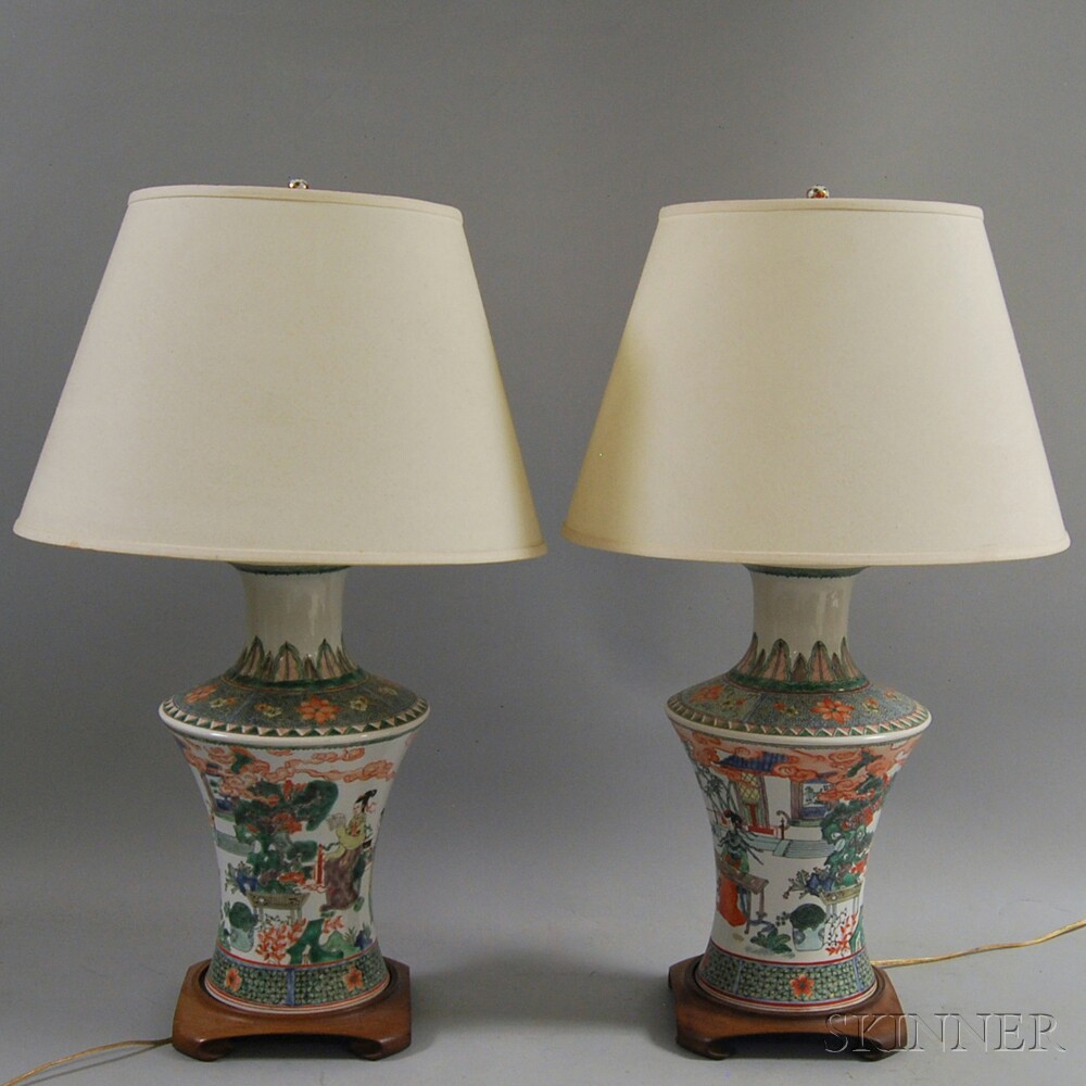 Pair of Chinese Ceramic Vase-form Lamps