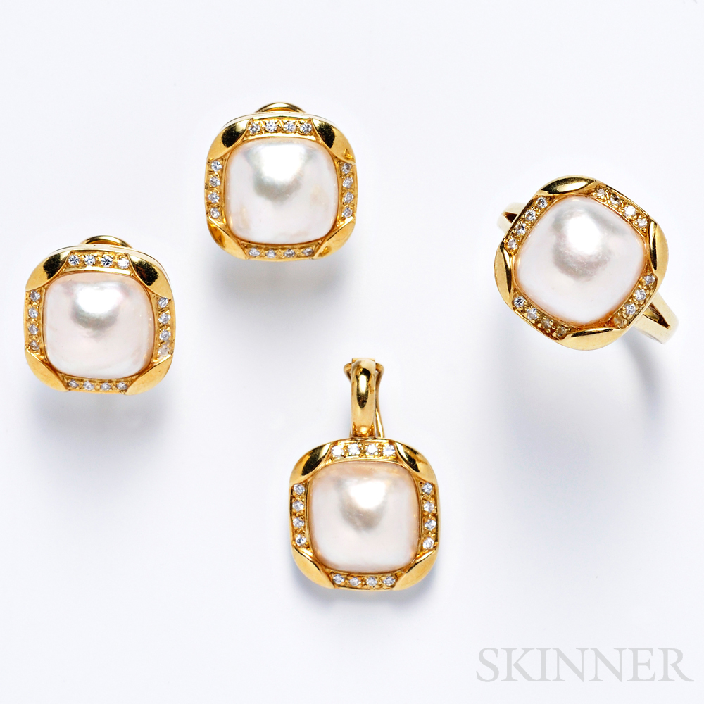 18kt Gold, Mabe Pearl, and Diamond Suite, Black, Starr & Frost