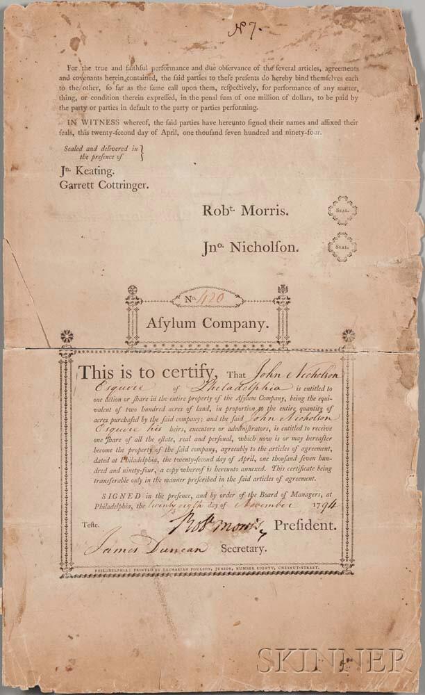 Morris, Robert (1734-1806) Signed Stock Certificate, 28 November 1794.
