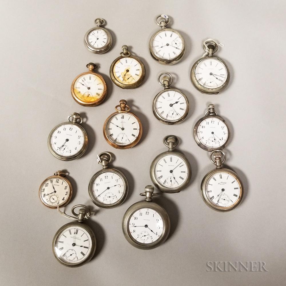 Fifteen Waltham Watch Co. Open-face Watches
