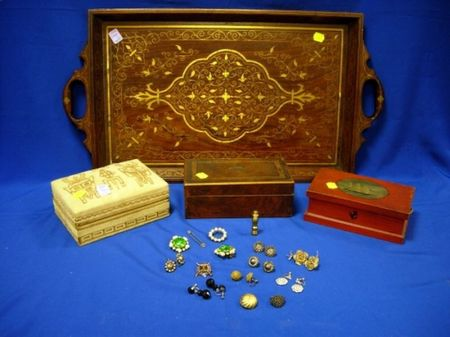 Three Boxes, a Wooden Tray, and Small Group of Costume Jewelry.