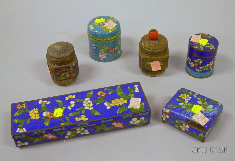 Two Chinese Cloisonne Boxes, Two Small Jars, and Two Small Champleve Jars.