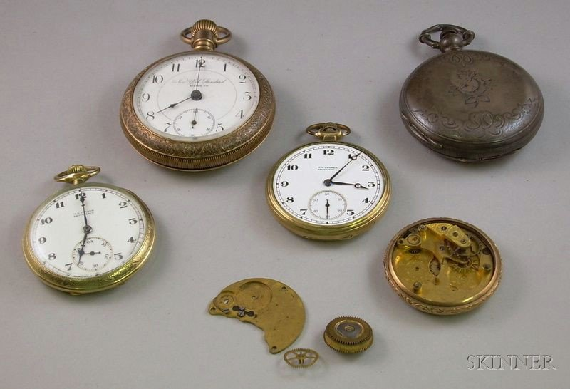 Three Gold-filled Open Face Pocket Watches, a L. & W.H. Laval Hunter Cased Key-Wind   Pocket Watch and a Small Group of Watch Parts