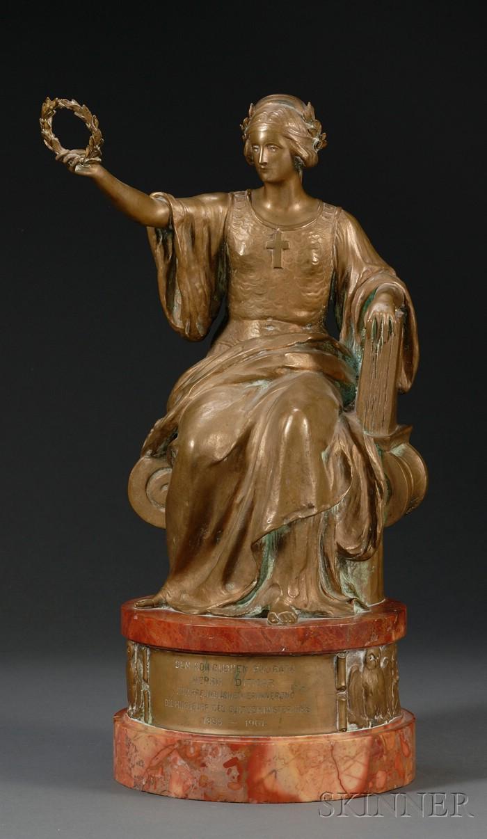 Johannes Götz (German, 1865-1934),   Bronze and Marble Presentation Figure