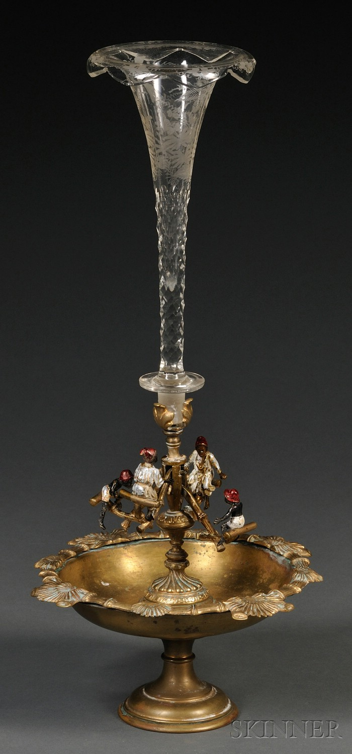 Viennese Bronze-mounted, Part Cold-painted, and Colorless Glass Centerpiece