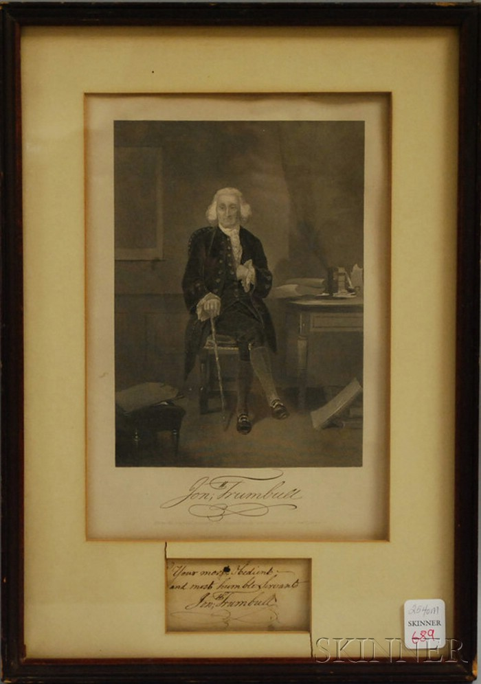 Framed Engraving of Jon Trumbull Lithograph with His Signature