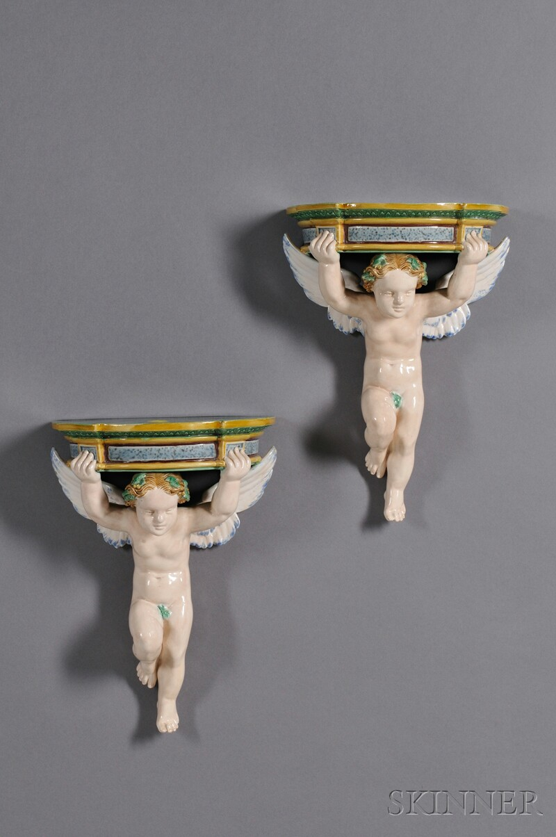 Pair of Minton Majolica Angel Brackets