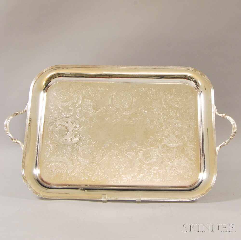 Two Large Silver-plated Serving Trays