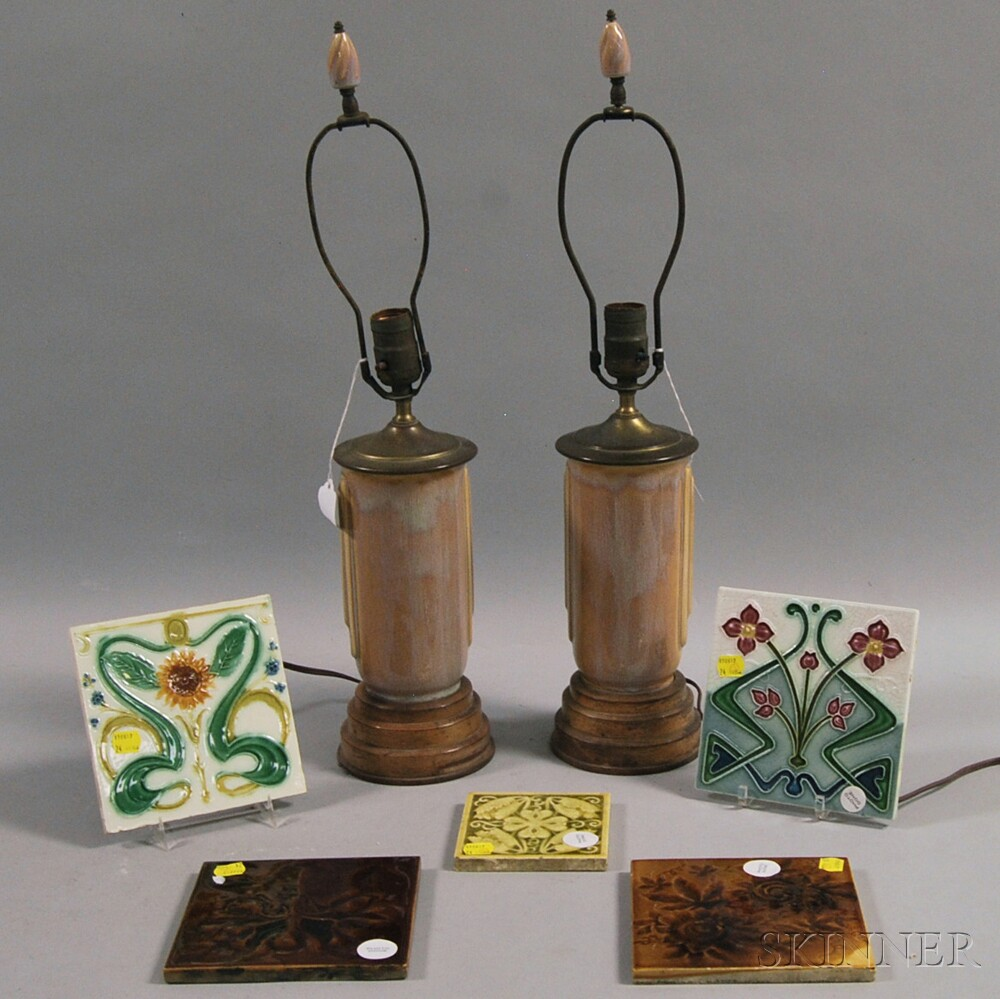 Five Art Nouveau Ceramic Tiles and a Pair of Art Deco Table Lamps