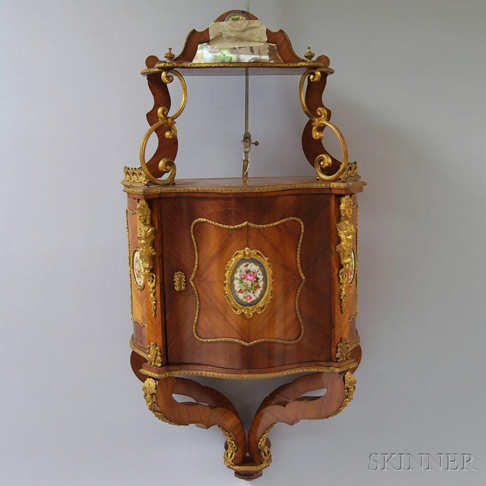 Louis XV-style Ormolu-mounted Kingwood Veneer Hanging Cabinet