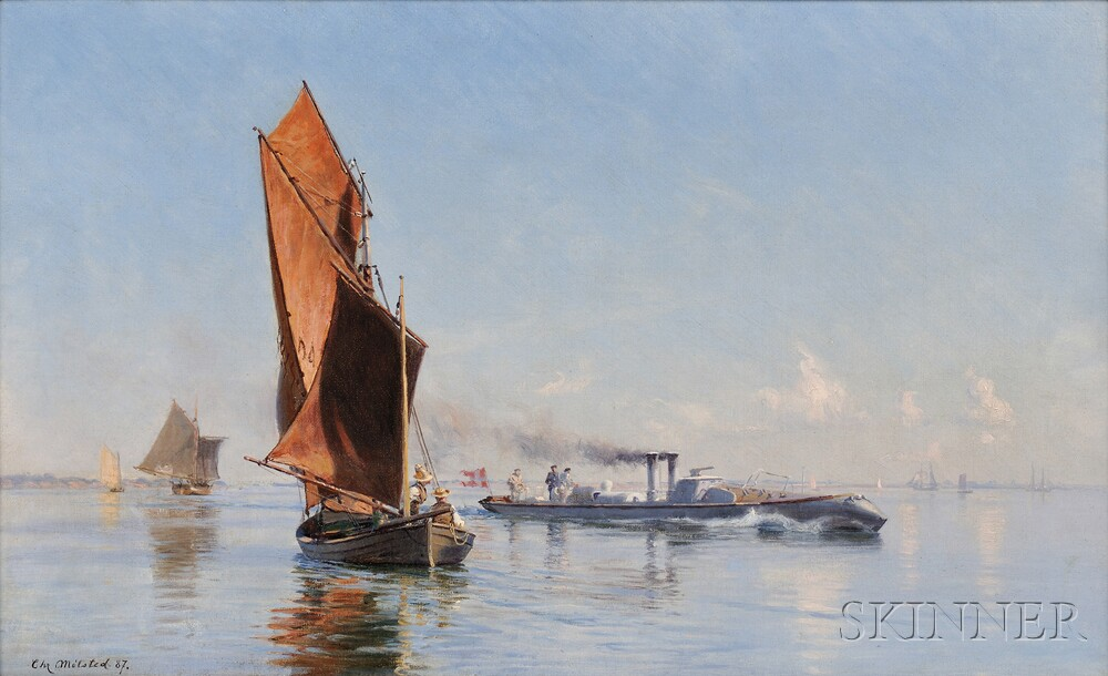 Christian Ferdinand Andreas Molsted (Danish, 1862-1930)      A Summer Calm on the Kattegat, Torpedo Boat NR. 8