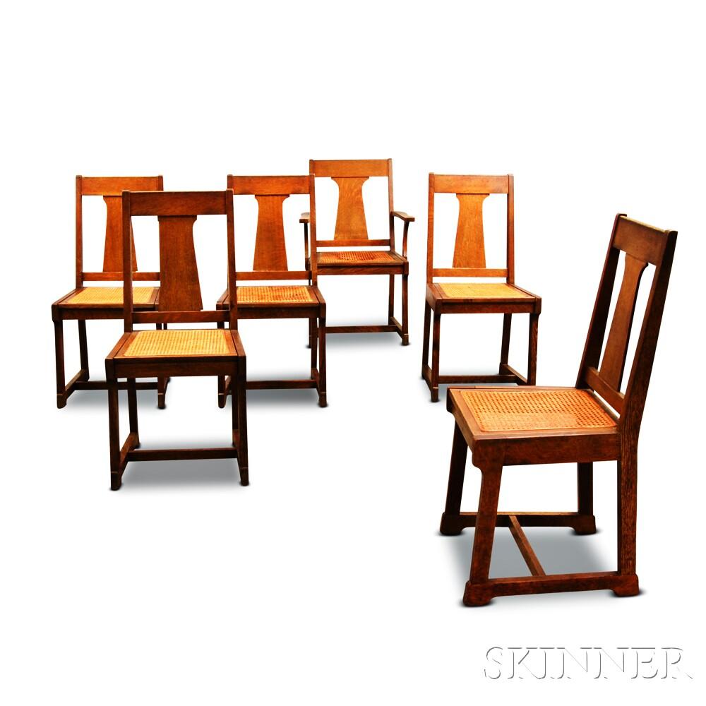 Six Grand Rapids Furniture Oak Arts and Crafts Chairs