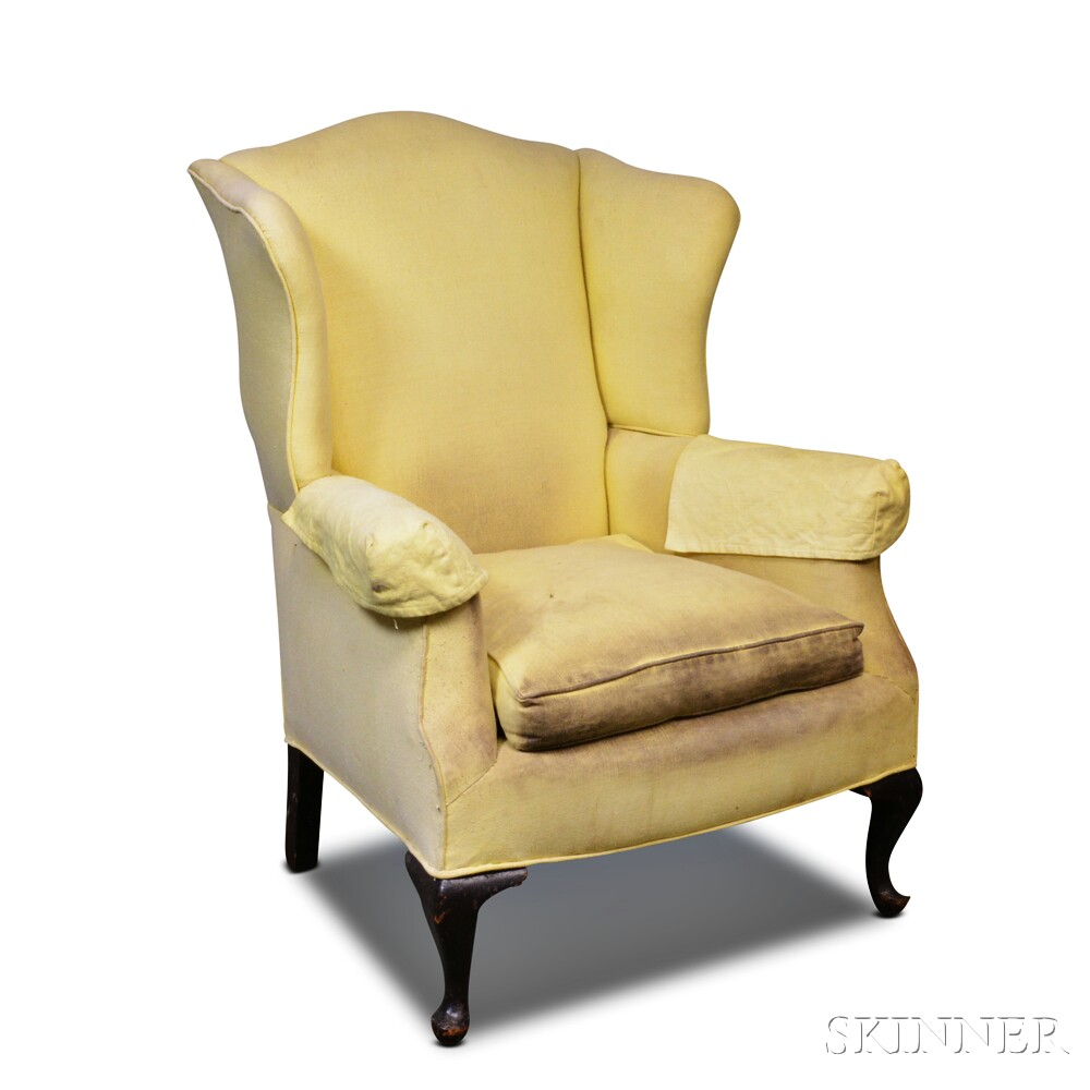 Queen Anne-style Upholstered Mahogany Easy Chair