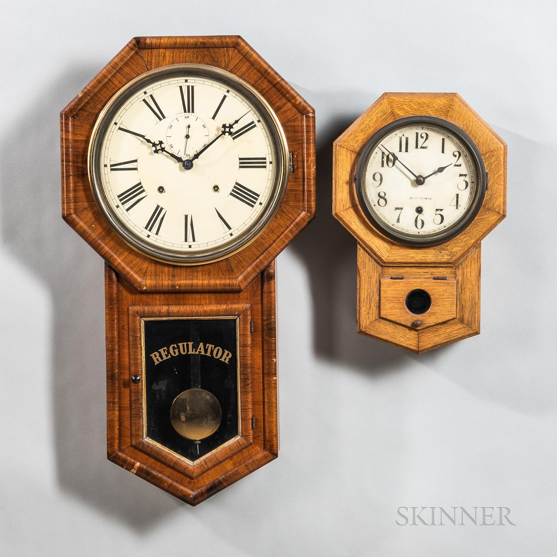 Two Connecticut Drop Octagon Clocks
