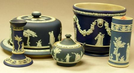 Wedgwood Dark Blue Jasper Dip Spill Vase, Covered Sugar, Candlestick, Jardiniere, and Cheese Dish with Cover.