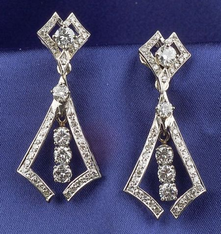 14kt White Gold and Diamond Day/Night Earpendants